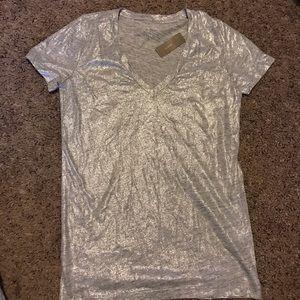 JCrew silver shimmer t shirt
